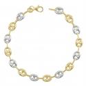 Bracelet Femme 2 Ors -  Or Bicolore - Maille Grain de Café Jaune et Blanc