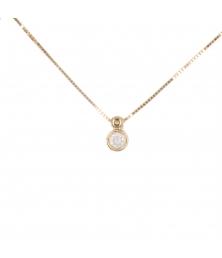 Collier Femme Or Jaune Véritable - Solitaire Zirconiums