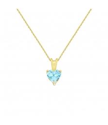Collier - Pendentif Or Jaune Topaze Bleue Coeur - Femme