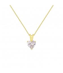 Collier - Pendentif Or Jaune Zirconium Coeur - Femme