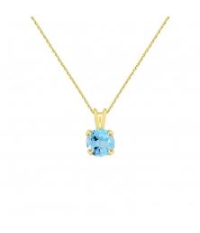 Collier - Pendentif Or Jaune Topaze Bleue Ronde - Femme