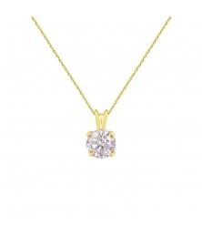 Collier - Pendentif Or Jaune Zirconium Rond - Femme