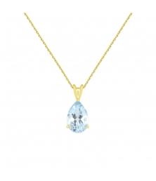 Collier - Pendentif Or Jaune Topaze Bleue Goutte - Femme