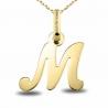 Pendentif Or Jaune - Initiale Lettre M - Chaine Dorée Offerte