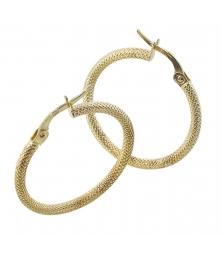 Boucles d'Oreilles Créoles Or 18 Carats 750/000 Jaune - Finition Diamantée