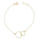 Bracelet Femme Or Jaune - Deux Anneaux Enlacés