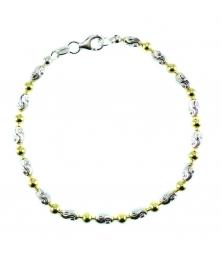 Bracelet Argent 925/000 Multicolore Jaune et Blanc - Femme