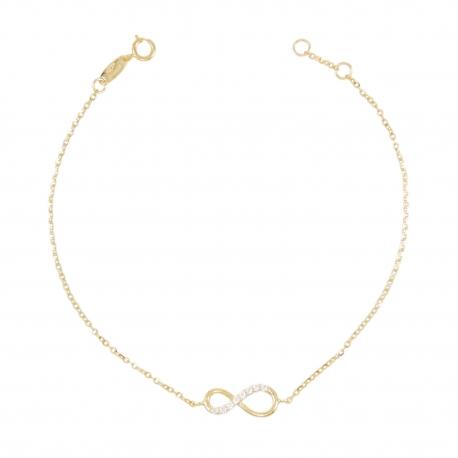 Bracelet Femme Or Jaune - Motif Infini Pavé de Zirconiums