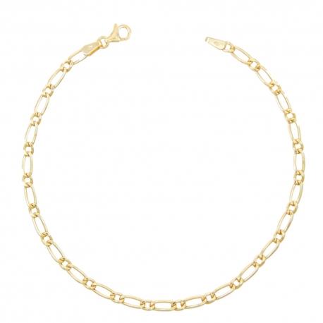 Bracelet Or 18 Carats 750/000 Maille Figaro Alternée 1+1 Jaune - Homme