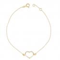 Bracelet Femme Or Jaune - Motif Coeur