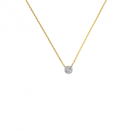 Collier Or Bicolore Solitaire Diamant - Femme