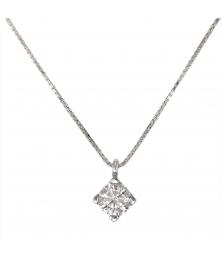 Collier Solitaire Diamant Qualité Supérieure 0,30 carats - Or Blanc 18 carats - 750/000