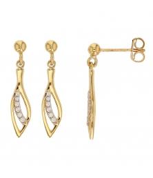 Boucles d'Oreilles Or Jaune Pendantes forme Gouttes Serties de Zirconiums - Femme