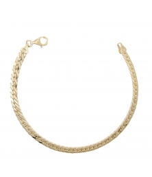 Bracelet Femme Or Jaune - Maille Anglaise Satinée