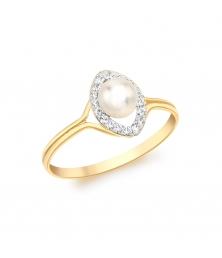 Bague Perle Or Jaune Sertie de Zirconiums