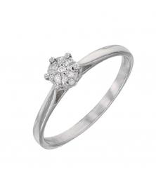 Bague Diamants Or Blanc - Solitaire 6 Griffes