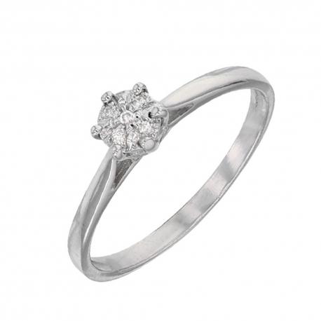 Bague Or Blanc et Diamants - Solitaire 6 Griffes