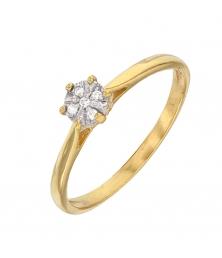 Bague Diamants Or Jaune - Solitaire 6 Griffes
