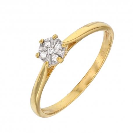 Bague Or Jaune et Diamants - Solitaire 6 Griffes