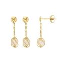 Boucles d'Oreilles Or 18 Carats 750/000 Jaune - Perles Pendantes