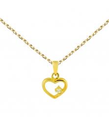 Collier - Pendentif Or 18 Carats 750/000 Jaune - Coeur et Zirconium - Femme
