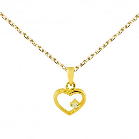 Collier - Pendentif Or 18 Carats 750/000 Jaune Coeur et Zirconium - Femme