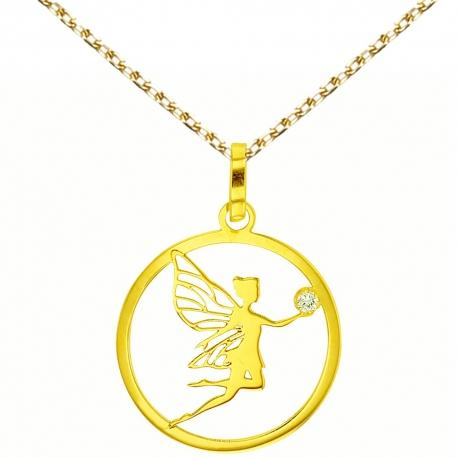 Collier - Pendentif Or 18 Carats 750/000 Jaune - Fée et Zirconium - Femme