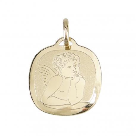 Gravure Offerte + Pendentif - Médaille Ange - Or Jaune - Enfant