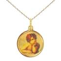 Collier - Médaille Or Ange Jaune - Gravure et Chaîne Dorée Offertes