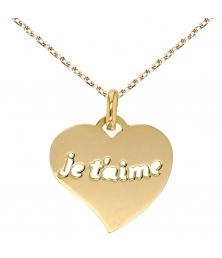 "Collier - Pendentif Or Jaune ""Je t'aime"""