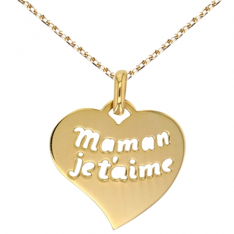 "Collier - Pendentif Or Jaune ""Maman Je t'aime"""