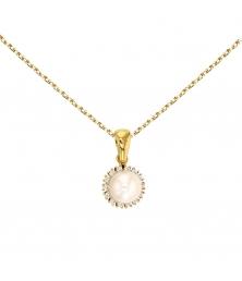 Collier - Pendentif Or Jaune Perle Entourée de Zirconiums