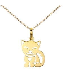 Collier - Pendentif Or Jaune Chat