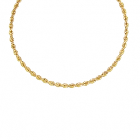 Collier Or 18 Carats 750/000 Maille Corde Jaune - Femme