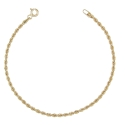 Bracelet Or 18 Carats 750/000 Maille Corde Jaune - Femme