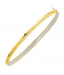Bracelet Or Jaune - Jonc Ouvrant Pailleté - Femme