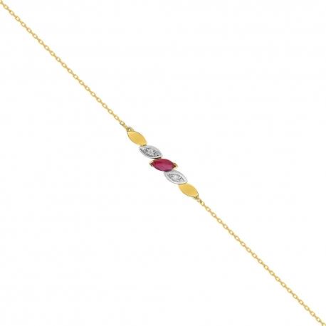 Bracelet Or Diamants et Rubis - Femme