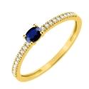 Bague Or Saphir Bleu Accompagné de Zirconiums