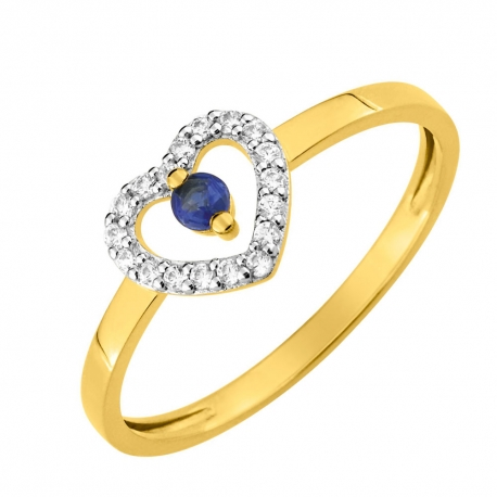 Bague Or Saphir Bleu Accompagné de Zirconiums en Coeur