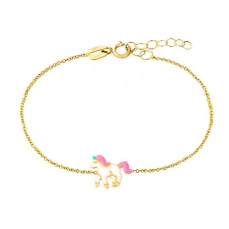 Bracelet Enfant Or Jaune Licorne Laquée