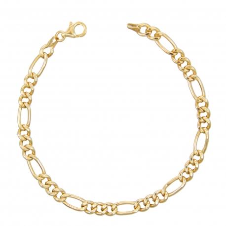 Bracelet Or 18 Carats 750/000 Maille Figaro Alternée 1+3 Jaune - Homme