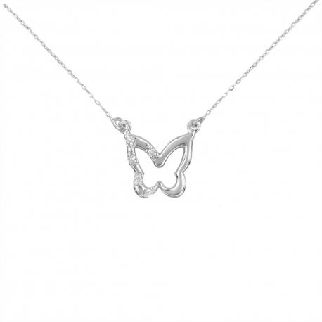Collier Or Blanc et Diamants - Pendentif Papillon - Femme