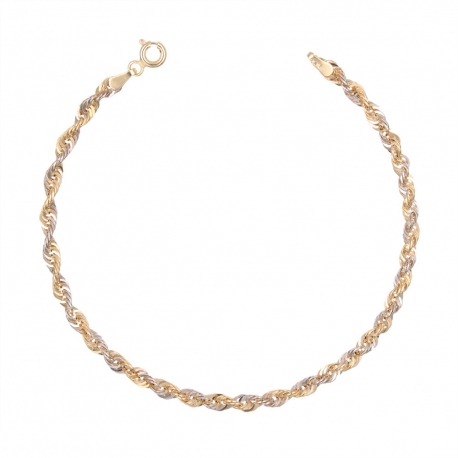 Bracelet Or Jaune 18 Carats 750/000 Maille Singapour Bicolore Jaune et Blanc- Femme