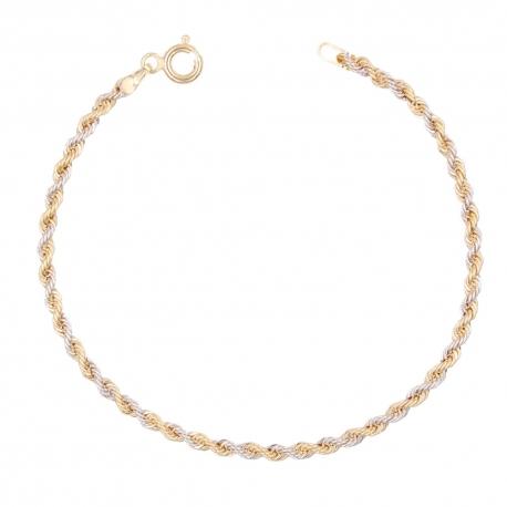 Bracelet Or 18 Carats 750/000 Maille Corde Bicolore - Femme
