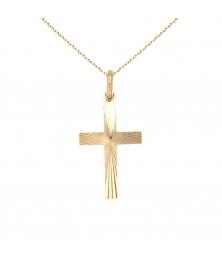 Collier - Croix Or 18 Carats 750/000 Jaune - Chaine Dorée Offerte