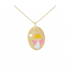 Collier - Médaille Or Ange - Chaîne Dorée Offertes