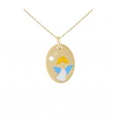 Collier - Médaille Or Ange Bleu - Chaîne Dorée Offerte