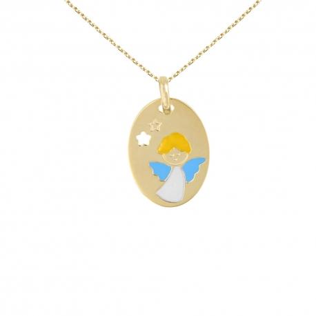 Collier - Médaille Or Ange Bleu - Chaîne Dorée Offertes