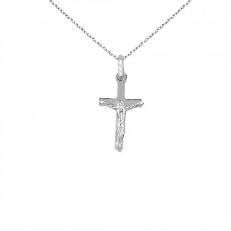 Collier - Médaille Or Blanc Christ sur la Croix - Femme ou Enfant