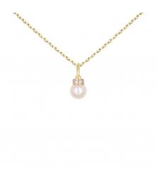 Collier - Pendentif Or et Perle Serti de Zirconiums - Chaîne Dorée Offerte